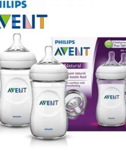 SET 2 Bình sữa Philips Avent Natural 260ml bằng nhựa, không có BPA
